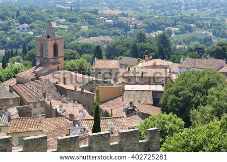 Fortified village of Grimaud, commune in the Var department in the Provence-Alpes-Cote of Azur region in southeastern France - stock photo