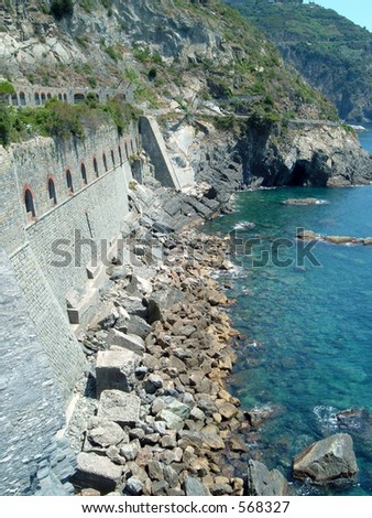 Fortified wall in Cinque Terre, Italy - stock photo