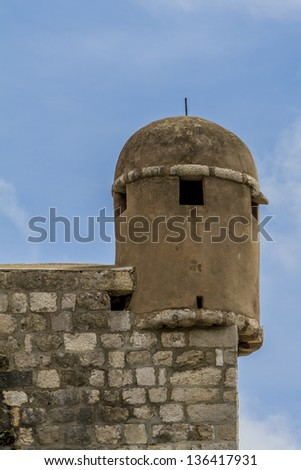 Fortified wall of medieval town Dubrovnik. Bulk of existing walls and fortifications was constructed during 14-15 centuries but they were continually strengthened up to and 17 century. Croatia, Europe - stock photo