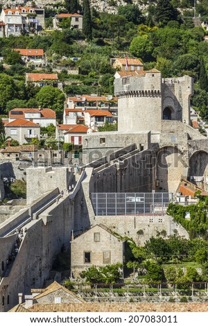 Fortified wall of medieval town Dubrovnik. Dubrovnik - UNESCO World Heritage Site. Croatia.