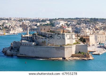 Fortness of Vittoriosa and Grand Harbour. Malta - stock photo