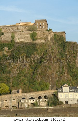 Fortress Ehrenbreitstein in on a mountain in Koblenz, Germany - stock photo