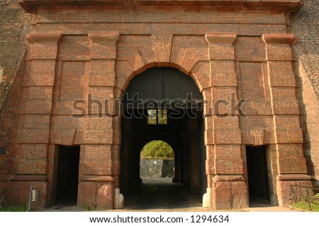 Fortress entrance - stock photo
