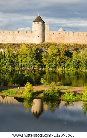 Fortress in Ivangorod, the western border of Russia - stock photo