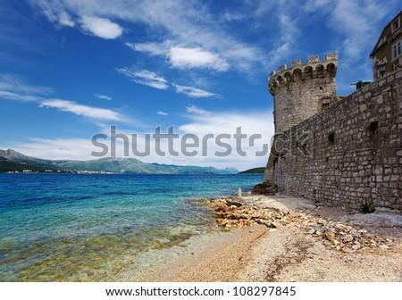 fortress in Korcula. Croatia. - stock photo