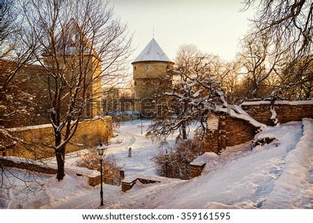 Fortress in Tallinn in the winter, Estonia - stock photo