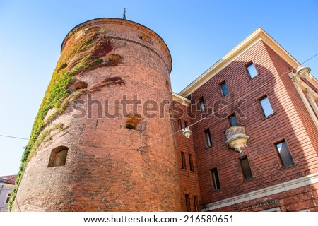 Fortress in the Old city of Riga, Latvia. Riga's historical centre is a UNESCO World Heritage Site - stock photo