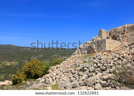 Fortress Nimrod view - the medieval fortress located in northern part of the Golan heights, on a crest about 800 m high above sea level. National park, Israel - stock photo