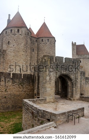 Fortress of Carcassonne in southern France - stock photo