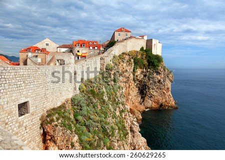 Fortress of Dubrovnik on the Adriatic Sea - stock photo