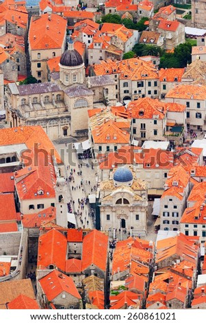 Fortress of Dubrovnik on the Adriatic Sea, viewed from the hill - stock photo