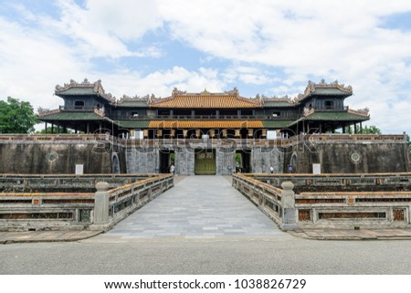 fortress of entry to the imperial citadel, unesco world heritage,  in the city of Hue, Vietnam.