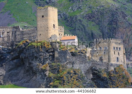 Fortress of Khertvisi near the cave city of Vardzia in Georgia (Caucasus) - stock photo