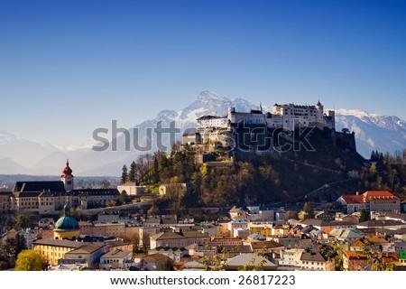 Fortress of Salzburg - stock photo