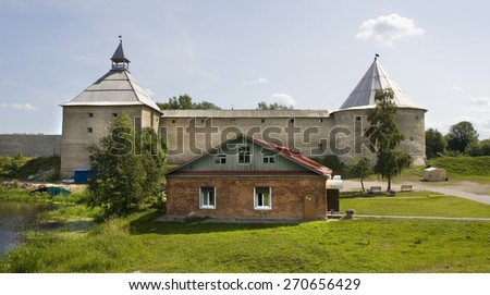 fortress Old Ladoga in town Old Ladoga in Russia.  - stock photo