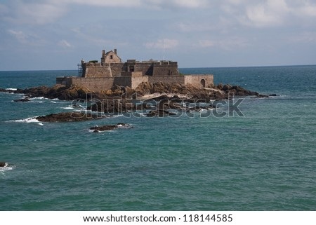 Fortress on the rocks in the ocean