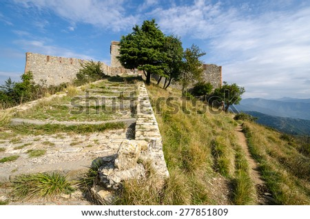 fortress Puin on Mount Righi Genoa - stock photo