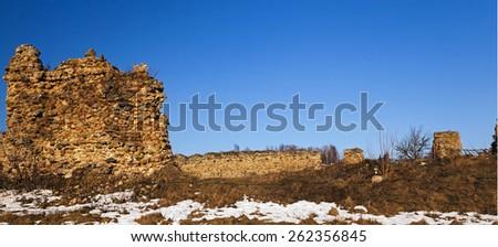 fortress ruins.  Krevo, Belarus - stock photo