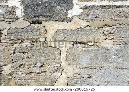 Fortress stone wall at historic Castle of San Marcos - stock photo