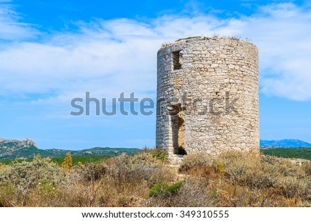 Fortress tower of Bonifacio town, Corsica island, France