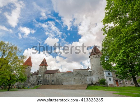 Fortress wall with turrets in old town of Tallinn. Estonia   - stock photo