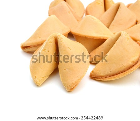 Fortune Cookie Background Pattern Isolated on White  - stock photo