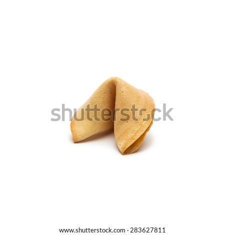 fortune cookie isolated on white background - stock photo