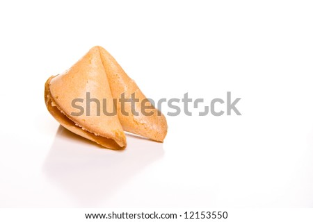 Fortune Cookie on white - stock photo