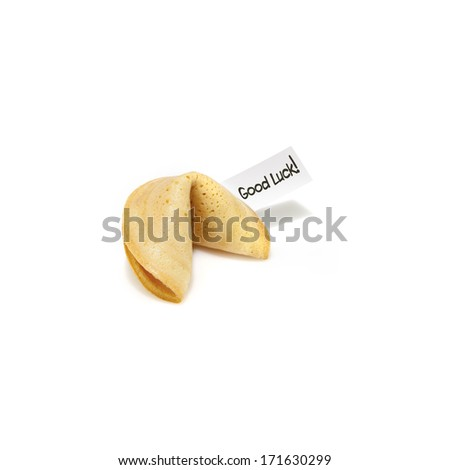 fortune cookie on white background - stock photo
