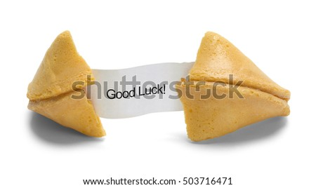 Fortune Cookie with Good Luck Message Isolated on White Background.