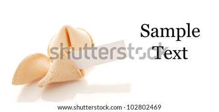 Fortune Cookie with Space for Text on white and Wrapper - stock photo