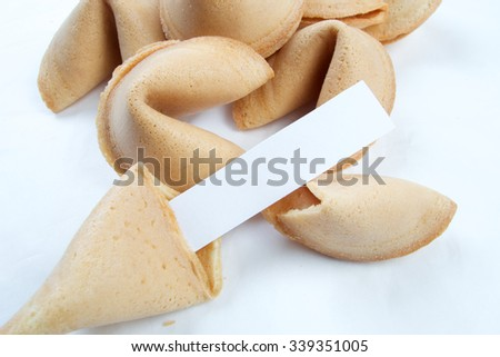 Fortune cookies forecasting and wishing good luck - stock photo