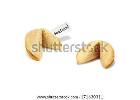 fortune cookies on white background - stock photo