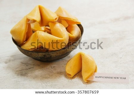 Fortune cookies with Happy Chinese new year message, selective focus - stock photo