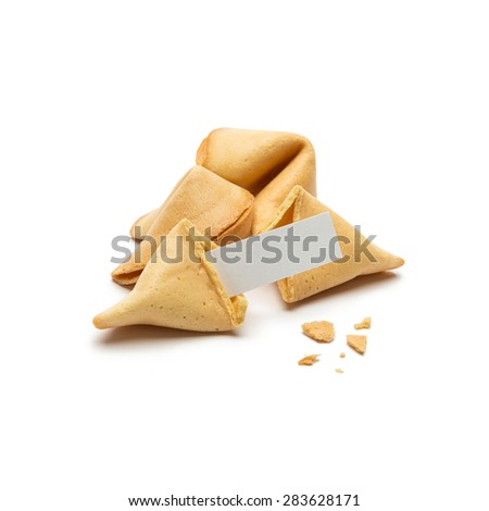 fortune cookies with note on white background - stock photo