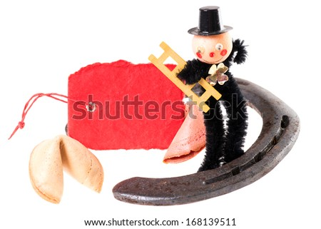 Fortune cookies with pieces of paper and chimney sweep / Good Luck - stock photo