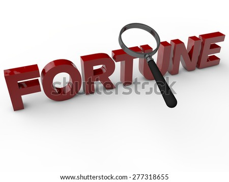 Fortune - 3D Text over white Background - stock photo