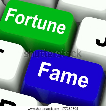 Fortune Fame Keys Showing Wealth Or Publicity