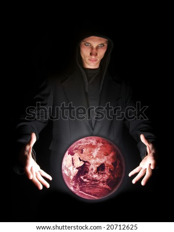 Fortune teller having a vision of global warming. Earth by NASA - stock photo