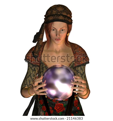 Fortune Teller looking into crystal ball. - stock photo