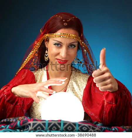 fortune-teller showing everything is gonna be alright - stock photo