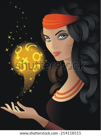 Fortune-teller  with a gold magic ball - stock photo