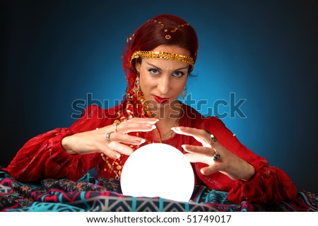 fortune-teller with a shining crystal ball