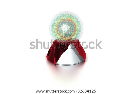 Fortune telling globe on plinth with red velved material - stock photo