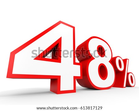 Forty eight percent off. Discount 48 %. 3D illustration on white background.