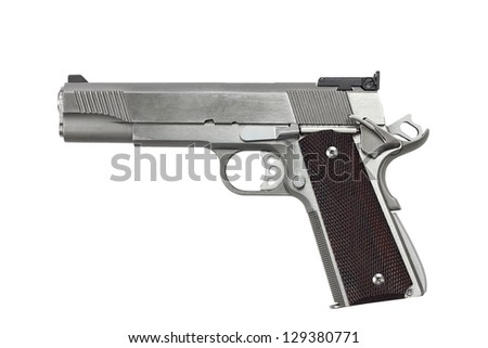 Forty five caliber handgun isolated on a white background with clipping path included. - stock photo