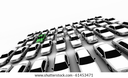 Forty generic cars with one green. DOF, focus is on green car. - stock photo