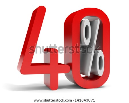 Forty percent off. Discount 10%. 3D illustration. - stock photo