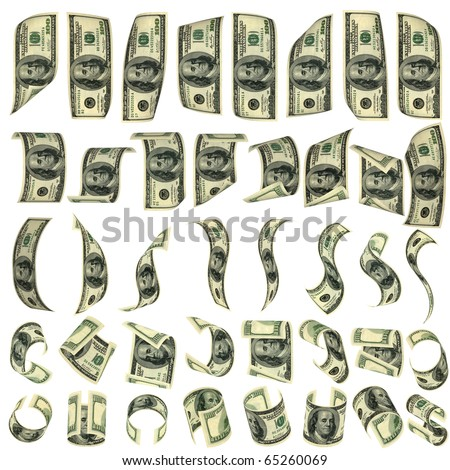 Forty preparations for falling dollars. Isolated on white. All banknotes different. For giving realness of a banknote contain elements of deterioration. - stock photo