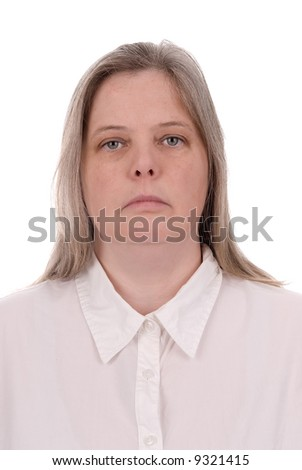 Forty something woman over a  white background - stock photo